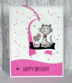 MFT Cool Cat; splatter; birthday; border die; pink; cute; tag die