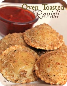 Oven Toasted Ravioli from sixsistersstuff.com.  A quick and easy meal your whole family will love {even the kids}! #recipes #dinner #ravioli