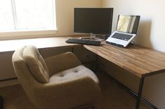 DIY Ikea butcher block countertops as desk | insideways: DIY Custom Desk - essentially our desktop is right here - we can alter legs etc. - but this is the design