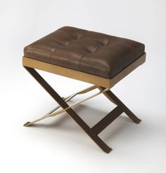 Butler Loft Rodrigo Modern Medium Brown Iron Leather Stool