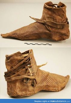 "14th Century Shoe N JUST ENOUGH TO COVER THE FOOT - NO PADDING, NO ""ARCH"" SUPPORT, ETC., OUR ANCESTORS WERE HARDY & INCREDIBLE!"