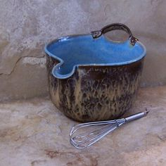 Burnt Iron And Icy Blue Stoneware Ceramic Pottery By Montezumamudd, $52.00