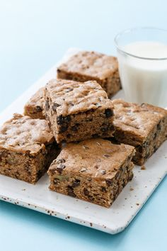 Banana Bread Blondies with Chocolate Chips and Pecans