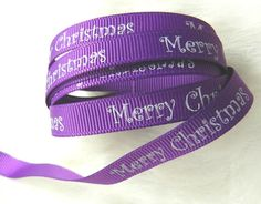Christmas Grosgrain Purple Ribbon with White Merry Christmas Greetings, 5 Yards, 10mm(3/8in), Holidays, Embellishment, Single Sided