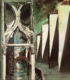 "Title unknown (1972) from ""Death in Venice"" by British artist John Piper (1903-1992). Screenprint on paper. Set design for Benjamin Britten's opera. via the Tate"