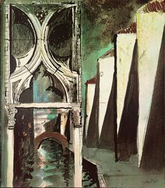 "Title unknown (1972) from ""Death in Venice"" by British artist John Piper (1903-1992). Screenprint on paper. Set design for Benjamin Britten's opera. via the Tate"
