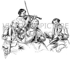 Village Band. Victorian picture showing four rustic men playing musical instruments; two have violins (fiddles), one a wind instrument, and one a drum. Two wear smocks, and two wear coats, waistcoats and neckerchiefs. Download high quality jpeg for just £5. Perfect for framing, logos, letterheads, and greetings cards.