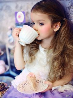 Tea party. Beautiful baby girl......I hope I have a pretty daughter like this. :)