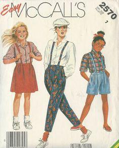 Sewing Pattern Girls' Shirt Pants Shorts And Skirt McCalls Size 7 by SewingPatternsArleen on Etsy