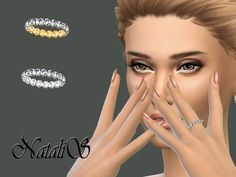 The Sims Resource: Crystal Pave Left Ring by NataliS • Sims 4 Downloads