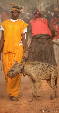 man with hyena - Nigeria by Irene Becker Out Of Africa, West Africa, We Are The World, People Around The World, African Culture, African Art, Hyena Man, Liberia, World Cultures