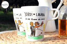 Regala a tus invitados unas tazas con un dibujo del día más feliz de vuestras vidas http://www.laquepinta.com/artistazas-como-detalle-de-boda/