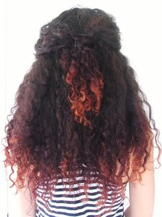 red dip-dyed curly hair
