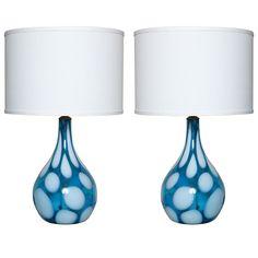 Pair of Mid Century Murano Glass Lamps