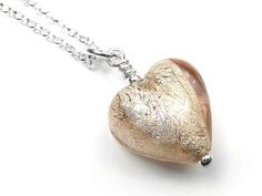 Murano Glass Heart Pendant - Champagne Small Murano Glass, Gold Leaf, Pale Pink, Sterling Silver Necklaces, Champagne, White Gold, Chain, Pendant, Heart