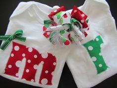 Baby Christmas Clothing Monogram Gift Set (shown in Boy/Girl). $45.00, via Etsy.
