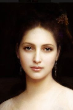 Portrait Painting of a Beautiful Woman by William Adolphe Bouguereau (French Neoclassical Master)