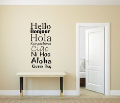 Hello Bonjour Hola Decal  Family Wall Decal  by StickyWallVinyl