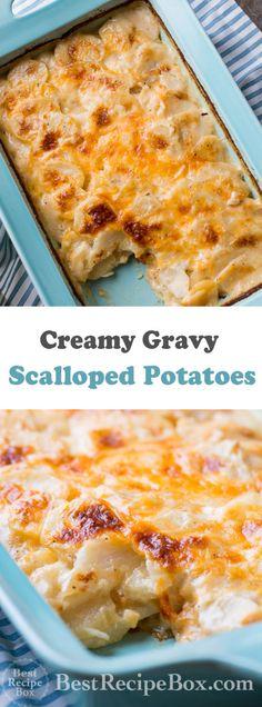 It's recipe for scalloped potatoes has gravy and cheese. A cheesy gravy scalloped mashed potatoes quick and easy Holiday Best Scalloped Potatoes, Scalloped Potato Recipes, Scallop Recipes, Scallop Potatoes, Vegetable Side Dishes, Vegetable Recipes, Potato Gravy, Best Recipe Box, Potato Dishes