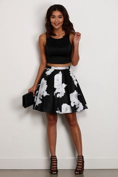 Annalise Black Floral Two Piece