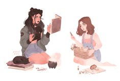 """I was commissioned to draw cute modern day witches :"""">"""