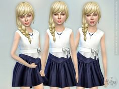Sleeveless Poplin Dress - Navy Blue and White