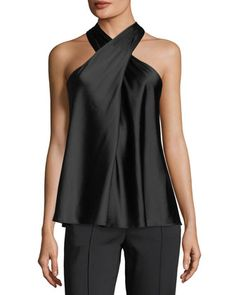 Arvid+Sleeveless+Halter+Silk+Satin+Top+by+A.+at+Bergdorf+Goodman. Satin Top, Silk Satin, Silk Top, Casual Chic, Casual Wear, Top Mode, Party Fashion, Mannequins, Fashion Dresses