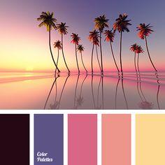 a pink, beige, color of purple sunset, color of sunset, dark purple, deep blue, eggplant, gray-pink, orange-brown, purple, saffron, yellow color.