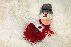 Red White Santa Newborn Knit Swaddle Sack   Beautiful Photo Props