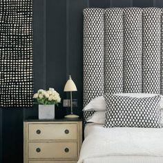 Cozy black and white polka dot upholstered headboard.