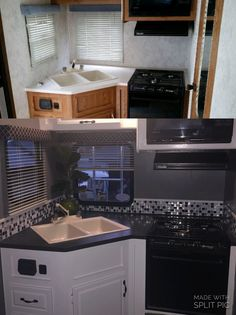Camper Remodel Rv Makeover Motorhome Ideas For 2019 Rv Travel Trailers, Travel Trailer Remodel, Camper Trailers, Rv Trailer, Happy Campers, Kombi Motorhome, Airstream, Rv Redo, Rv Homes
