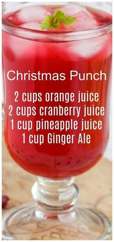 Christmas Punch ~ so simple to make and delicious! We like to serve this punch on Christmas morning. Christmas Punch ~ so simple to make and delicious! We like to serve this punch on Christmas morning. Cocktail Drinks, Fun Drinks, Yummy Drinks, Healthy Drinks, Alcoholic Beverages, Mixed Drinks, Refreshing Drinks, Food And Drinks, Healthy Food