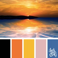Vibrant color inspiration from the sunset - bold blue, yellow, orange and black   Click for more color combinations inspired by beautiful landscapes and other coloring inspiration at http://sarahrenaeclark.com   Colour palettes, colour schemes, color therapy, mood board, color hue
