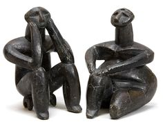 Hamangia: late Neolithic culture | Ganditorul: The Thinker | terracotta | lower Danube region, near Cernavoda, Romania | c. 5,000 BCE: late Stone Age | unearthed in 1956 | believed to be the oldest known sculpture illustrating human introspection