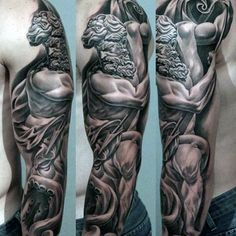 Greek Mythology Guys Unique Shaded Full Sleeve Tattoo