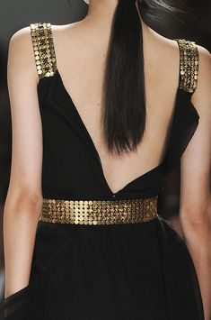 Elie Tahari Spring 2012 | black dress with gold trimmings