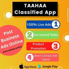 "Promote your business products/services worldwide by posting 100% live classified ads online using ""Taahaa - Free Classified Ads"". Taahaa is one of the best Free Classified Apps that helps to gain exposure towards your business services/products."