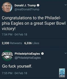 Not actually the Eagles official account but it is still perfect. (7:54pm is West Coast to the twits tweet at 10:54pm)