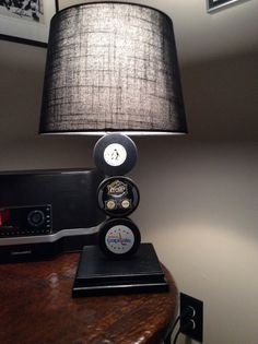 Penguins and Capitals 2011 Winter Classic Hockey Puck Lamp on Etsy, $65.00