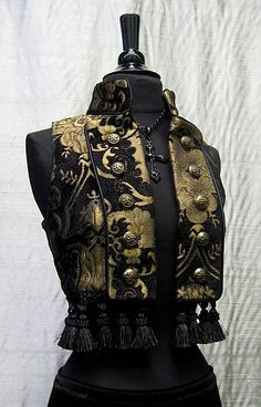 Toreador Vest - Gold and Black Tapestry by Shrine Clothing Gothic Dresses Steampunk Vest, Steampunk Couture, Steampunk Fashion, Fashion Art, Luxury Fashion, Fashion Design, Trendy Outfits, Cool Outfits, Pirate Garb