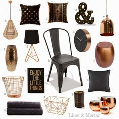 black and copper bedroom decor Black And Copper Bedroom, Copper Bedroom Decor, Copper Decor, My Living Room, Living Room Decor, Kmart Home, Kmart Decor, Deco Rose, New Room