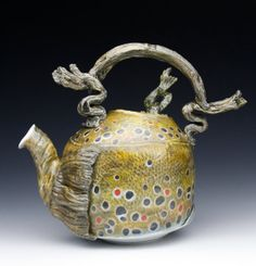 Porcelain Hand Made Brown Trout Teapot with Frog One by markchuck, $250.00