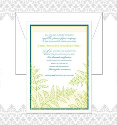 Woodland Fern Wedding Invitation Set includes by Spilling Beans