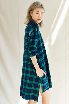 Urban Renewal Remade Plaid Flannel Raw Edge Dress