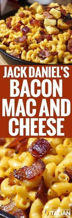Jack Daniel's Mac and Cheese recipe loaded with hickory smoked peppered bacon, tons of ooey gooey smoky cheese and a selection of spices to wake up all your senses. This is the mac and cheese of your dreams. (cheesy mac and cheese creamy) Bacon Mac And Cheese, Mac Cheese Recipes, Macaroni Cheese, Bacon Recipes, Pasta Recipes, Dinner Recipes, Cooking Recipes, Healthy Recipes, Smoked Cheese