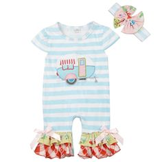 This adorable happy camper romper has lace accents and lots of ruffles for your little one! Perfect for everyday wear, special events, or photoshoot. Sizes from 0/3 Months- 2T   comes with matching headband Material:95%Cotton5%Spandex