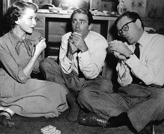 Deborah Kerr, Peter Lawford and Robert Walker play cards on the set of Please Believe Me, 1950