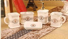 Europeanstyle bathroom with five piece of cover ceramic bathroom sets ceramic bathroom accessories Beige