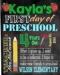 First day of school chalkboard subway sign digital download personalized preschool photo prop typography