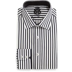 English Laundry Striped Woven Dress Shirt ($49) ❤ liked on Polyvore featuring men's fashion, men's clothing, men's shirts, men's dress shirts, black and plus size